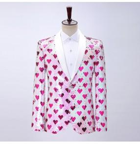 Male love Pattern glitter sequined suit jazz dance jacket stage performance video shooting singer host dress coat pink suit groomsman blazers