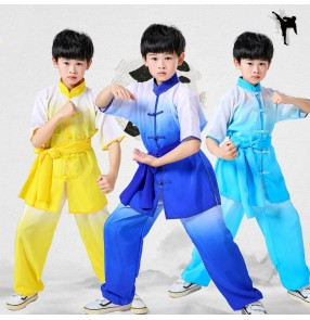 Martial art wushu performance clothing for girls boys red yellow blue colored school stage performing tai chi kung fu suit for children