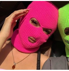 Masked Hat for unisex Winter Cover Mask Green red pink black Halloween christmas Caps For Party Motorcycle Bicycle Ski Cycling Beanie