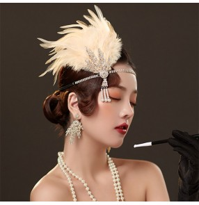 Masquerade feather headdress for women singers stage performance feather hair accessories banquet party drama cosplay retro headdress