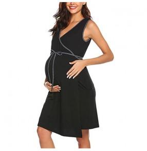 Maternity Dresses pregnant women wear sleeveless nursing dress breastfeeding pajamas robe