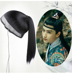 Men chinese hanfu warrior swordsman film cosplay Wig stage performance knight long straight hair Ming tang qing dynasty male wig cover net head cover