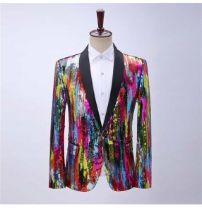 Men colorful vertical striped sequin dress coat stage performance singers host suit dance bar host suit jazz dance photos blazers for male