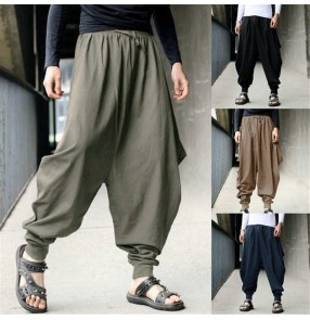 Men Cotton Haroun Harem Trousers Loose Casual Traditional Chinese kungfu Clothing for Men Hakama Samurai Costume Hip Hop trousers