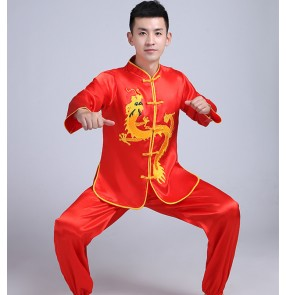 Men Dragon and lion dance costumes Male female chinese Yangko costumes Waist drum suit Martial arts practice clothes wushu Costumes
