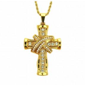 Men Hiphop street jazz dance three-dimensional cross style pendant necklace European American hip-hop rapper gogo dancers jewelry pendant