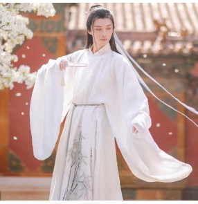 Men Ming Qing Dynasty robes round neck robe Hanfu ancient style men's knight swordsmen cosplay photos gown elegant Chinese style chinese ancient costumes