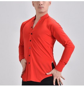 Men red color ballroom latin dance shirts v neck long sleeves plus size paso double dance shirts for male tango waltz dance tops