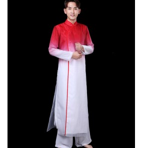 Men red gradient Chinese traditional Classical folk dance costumes China kungfu tiachi wushu clothing male chinese fan drum lion dance clothes