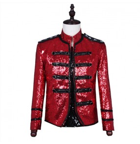 Men red sequined Singer performance clothing host jazz dance coats video shooting performance jacket men's red bling punk jacket