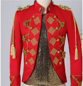 Men red white jazz dance jackets palace drama cosplay coats video shooting Night bar red court costume male personality punk suit jacket