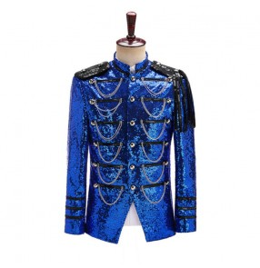Men royal blue paillette Court jazz dance costume performance coats Men's military dress performance jackets nightclub host singers DJ silver sequins coats