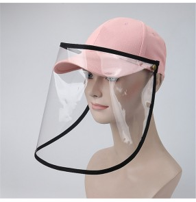 men's anti-spray saliva black baseball cap with face shield dust virus proof sun peaked hat for women and men