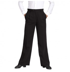 Men's ballroom latin dance pants for male competition professional waistline with loop jive chacha salsa rumba samba dancing long trousers