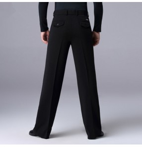 Men's ballroom latin dance pants male back with pocket stage performance professional samba chacha salsa dance trousers
