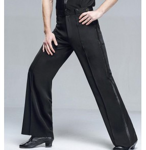 Men's ballroom latin dance pants side ribbon stage performance waltz tango dance trousers pants