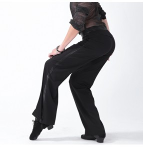 Men's ballroom latin dance pants silk ribbon hip leg side straight modern dance jive chacha salsa waltz tango latin dance long trousers for male