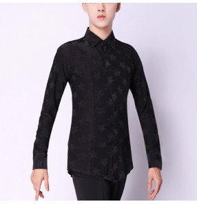 Men's ballroom latin dance shirts black color star pattern stage performance professional waltz tango jive chacha dance tops shirt