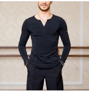 Men's ballroom latin dance shirts black white grey colored stage performance jive waltz tango flamenco dance tops shirts