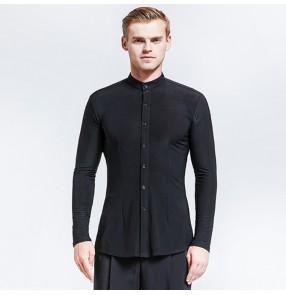 Men's ballroom latin dance shirts modern dance male black color stage performance pratice competition waltz tango dancing tops