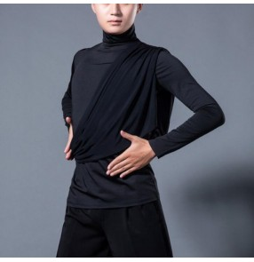 Men's ballroom latin dance shirts tops stage performance samba salsa chacha rumba dance tops shirts