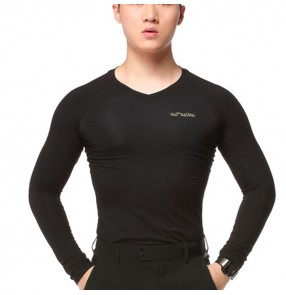 Men's ballroom waltz latin dance tops male  youth v neck long sleeves breathable professional stage performance t shirts