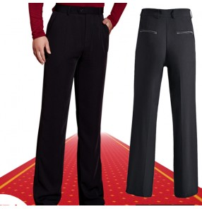 Men's black ballroom latin dance pants back with ribbon pocket  male stage performance competition waltz tango chacha jive salsa dance long trousers
