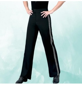 Men's black ballroom latin dance pants diamond competition stage performance rumba tango chacha dance trousers for male