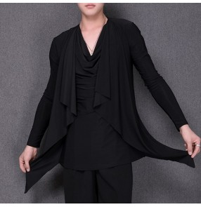 Men's black colored heap collar latin dance shirts cloak style  ballroom salsa chacha rumba dance tops