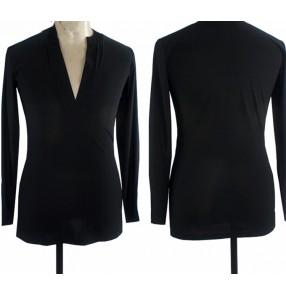 Men's black colored latin ballroom dance shirts tops v neck long sleeves stage performance waltz tango chacha samba dance shirts tops