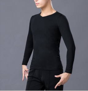 Men's black colored latin ballroom dance tops shirts stage performance modern dance waltz tango flamenco t shirts