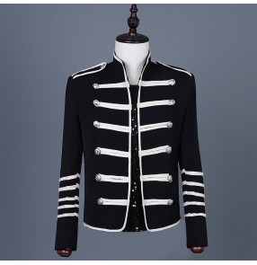 Men's black colored punk rock jazz dance short jacket stage performance host singers show performance coats jackets