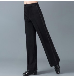 Men's black colored side ribbon straight ballroom dancing pants stage performance waltz tango latin salsa samba rumba dance trousers pants