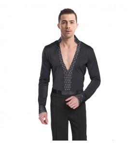 Men's black colored v neck stones latin ballroom dancing shirts stage performance waltz tango chacha dance leotard tops shirts