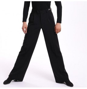 Men's black competition ballroom latin dance pants modern dance salsa chacha jive waltz tango dance long trousers for male