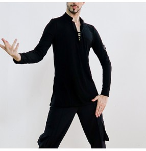 Men's black grey latin ballroom dance shirts v neck long sleeves ballroom tango waltz dance tops for male
