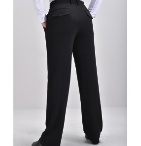 Men's Black professional competition ballroom latin dance pants back with pocket waltz tango chacha rumba ballroom dancing trousers for male