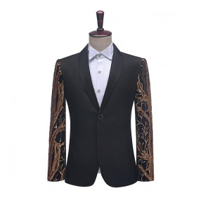 Men's black red sequined jazz dance coats male host singers night club bar stage performance blazers photos shooting coats for male
