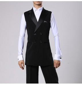 Men's black side split ballroom latin competition vest lapel collar middle long length dance performance waistcoats