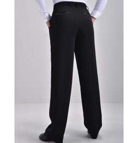 Men's black side with ribbon latin ballroom dance pants male stage performance competition waltz tango flamenco dance trousers pants