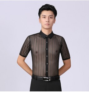 Men's black striped see through latin dance shirts short sleeves ballroom dancing tops for male rumba chacha dance clothes