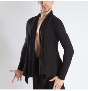 Men's black training practice performance latin ballroom dance shirts cardigans front open tops shirts