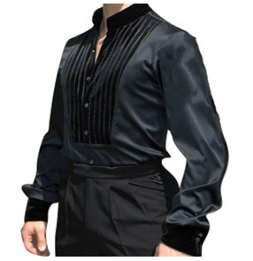 Men's black velvet ballroom latin dance body shirts stage performance chacha rumba salsa dance body tops shirts