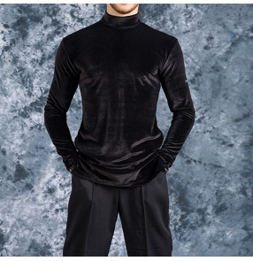 men's Black velvet competition ballroom latin dance shirts stage performance modern dance high neck waltz tango chacha dance tops