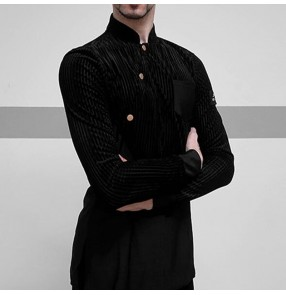 Men's black velvet striped latin dance shirts stand collar long sleeves male ballroom tango chacha waltz salsa dance tops for male