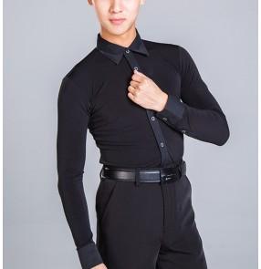 Men's black white competition latin dance shirts stage performance male waltz tango ballroom chacha dancing tops shirts