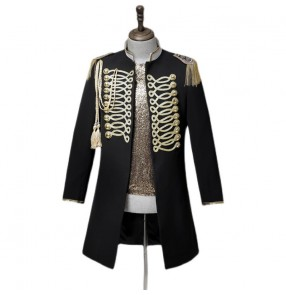 Men's black with gold color singer dancer stage performance long coat Nightclub bar male guest magician long jackets for male host costume