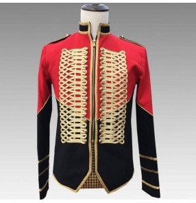 Men's black with red singers host model show performance jacket male stage performance European palace drama cosplay coats jackets