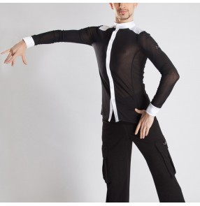 men's black with white Latin dance shirt for male men's tops dance competition practice clothes split performance dance tops