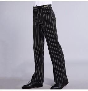 Men's black with white striped ballroom latin dance pants stage performance long trousers
